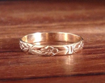 Floral Band ~ Yellow Gold Ring