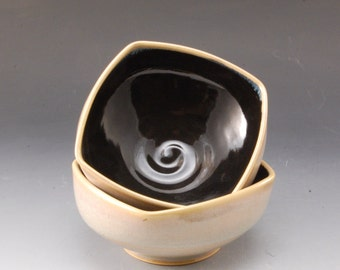 2 Handmade  Pottery Stoneware Bowls Black and Tan by Mark Hudak