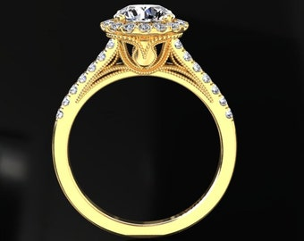 Foever One Moisssanite Ring 1.00 Carat Moissanite Halo Engagement Ring 14k or 18k Yellow Gold. Matching Wedding Band Available W9MOISY