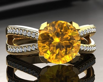Yellow Sapphire Engagement Ring Yellow Sapphire Ring 14k or 18k Yellow Gold SW7YSY