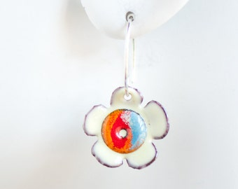 Small Flower Enamel Earrings, Red Orange Blue Cream, Sweet Jewelry, Bloom Earrings, Handmade Sterling Ear Wires, Hippie Boho Gift for Girl