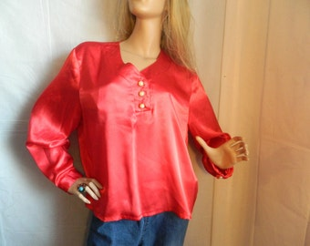 Vintage Red Sanity Pearl Button Blouse Size M-L