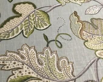 Home Decor Fabric 20 x 54 blueish grey leaves