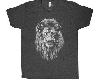 Lion Headphone T-shirt Men Graphic Tee Custom Hand Screen Print Tri-Blend Short Sleeve