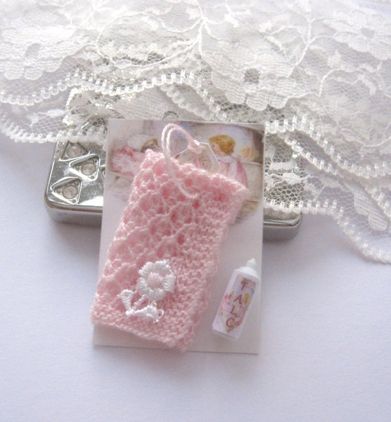 Free Knitting Patterns For Dolls Pram Blankets : dollhouse knitted pram blanket pink displayed on card with