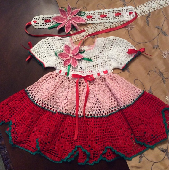 Dress and headband in a poinsettia filet pattern for baby 12 18 months