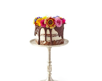 Pretty little  three layer birthday cake - with edible flowers