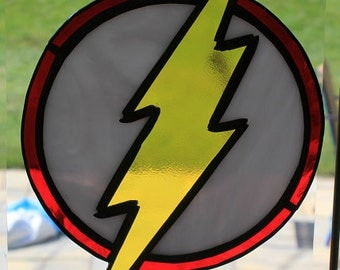 """Stained glass """"nerd shirt"""" collection """"the Flash"""" suncatcher wallhanging"""
