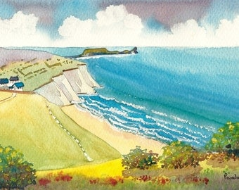 Original Watercolour, Painting, Summer, Rhossili Bay, Gower, South Wales, 14ins x 11ins, Gift Idea, Art and Collectables