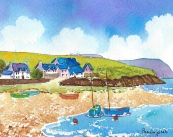 Watercolour Print, Parrog Beach, Newport, Pembrokeshire, Wales, UK, 14ins x 11ins, Christmas Gift Idea, Art And Collectibles