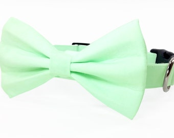 Mint green cat bow tie collar & dog bow tie collar - adjustable with bell (optional)