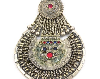 Old vintage huge Nepali or Kuchi handcrafted silver tribal pendant. free shipping worldwide!