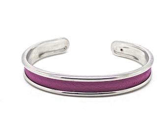 Purple and silver Bangle Bracelet