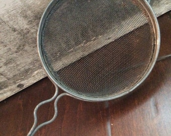 Vintage, red chippy wood handled kitchen utensils, strainer, peeler, can opener