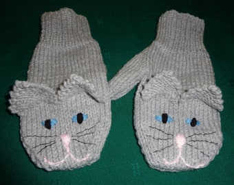 Grey Cat Mittens- Adult size