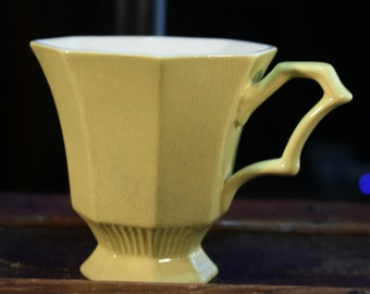 Vintage 1970s Independence Ironstone Octagon Light Yellow Coffee / Tea Cup Interpace - 4 x 4 inches - Stock # 3