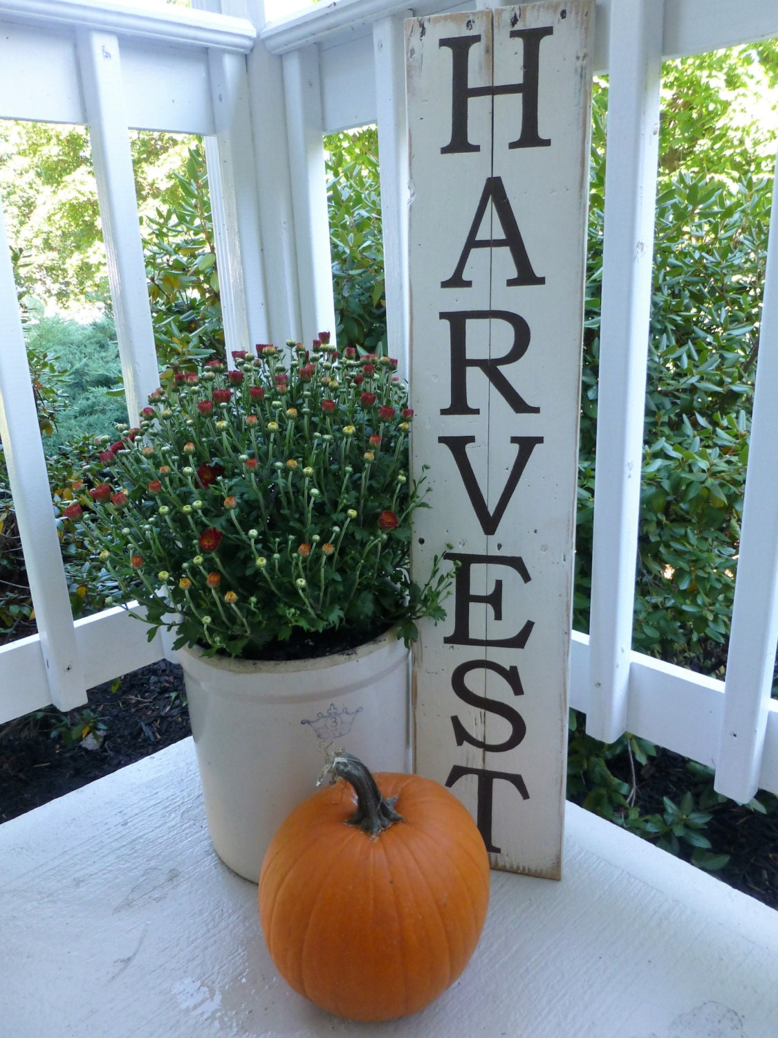 Harvest Sign On Barnwood For Fall Front Porch Decor: Large Harvest Sign Hand Painted On Reclaimed Wood