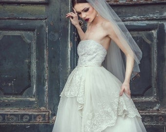 Ivory strapless tulle wedding gown, tulle wedding dress, tulle bridal gown, lace wedding dress, princess wedding dress, bridal gown, beaded