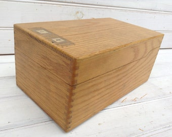 Library Card Catalogue Box Vintage Oak Retro Storage Organization Repurposed Recipe Card Box (C060)