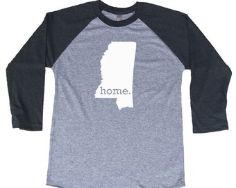 Homeland Tees Mississippi Home Tri-Blend Raglan Baseball Shirt