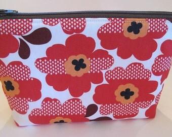 Red & Orange Flower Zipper Pouch
