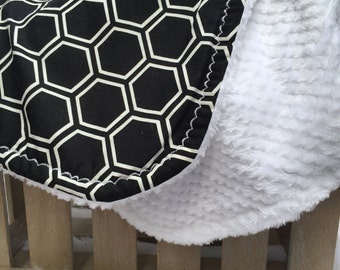 Infant Baby Blanket - Black and White - Baby Blanket - Honeycomb Shapes