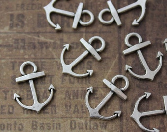 Bulk 40 Anchor Charms Anchor Pendants Antiqued Silver Tone Double Sided Wholesale Lot 15 x 13mm