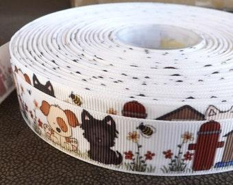 Puppy Dog ribbon puppy ribbon 7/8 dog printed Grosgrain ribbon