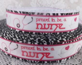 Nurse ribbon proud to be a nurse grosgrain ribbon 7/8 nursing ribbon