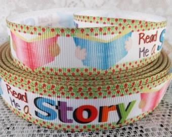 Reading ribbon Read me a story ribbon 7/8 story ribbon read a story Grosgrain Ribbon