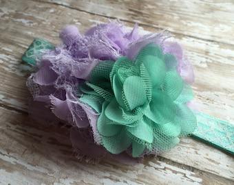 Little Miss Elegant Lace Headband, mint and light purple, lavender baby headband, toddler party headband, mermaid theme, birthday party bow