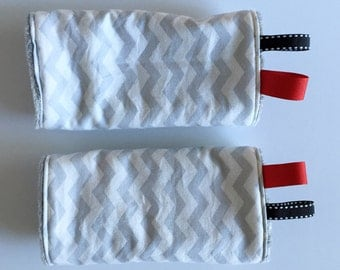 Reversible Baby Carrier Drool pads: gray + white chevron with minky