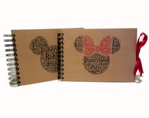 Personalised Disney Autograph Book, Mickey or Minnie Mouse Design, Word Art A5