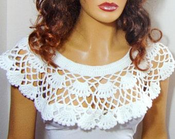 White Bridal Bolero Capelet Wrap Shrug, White Bride Shrug, Bridesmaid Bolero Wrap Shawl, White Wedding Handknit Shrug,,  Wedding Accessories