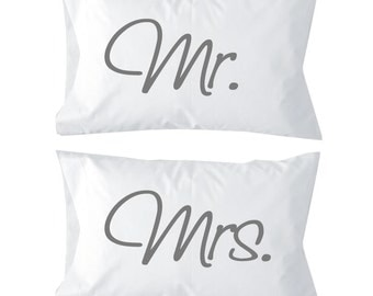 Mr. & Mrs. Travel Pillows Made in the USA. Wedding Pillow Set of 2. Makes a great wedding gift. Perfect for honeymoon. New husband and wife.