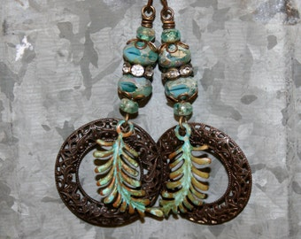 Artisan jewelry, Verdigris earrings, Vintaj jewelry, Patina jewelry, Green blue earrings