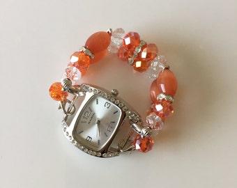 Orange Crystals... Womens Watch, Womens Interchangeable Watch, Women Double Stranded Watch, Womens Beaded Watch, Set (302)