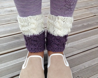 Boot Cuffs Ivory with Lilac Knit Boot Cuffs Leg Warmers Boot Toppers Knit Boot Socks READY TO SHIP