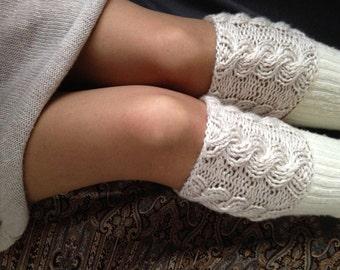 Boot Cuffs Beige Boot Socks Knit Boot Cuffs Leg Warmers Boot Toppers Womens Knit Boot Socks