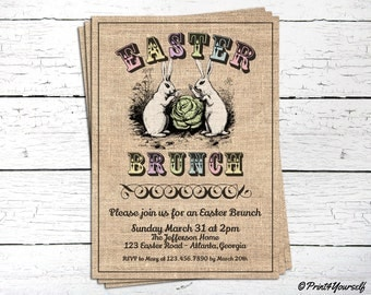 Easter Brunch Invite // Personalized Printable Rustic Vintage Burlap Easter Brunch Invitation // Easter Brunch Invitation // Easter
