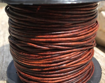 1mm natural red brown leather cord, round brown leather