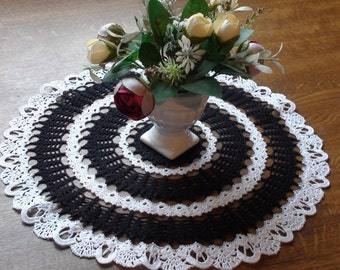 Crocheted doily Black doily White doily Handmade doily Small doily Lace doily Lace doilie Crochet doilie