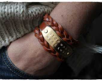 Handmade leather bracelet - strap and stamped metal