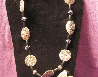 ANIMAL PRINT with BLACK/White Beads Jewelry Set