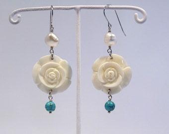 Hand carved bone rose earrings with gemstones & pearl