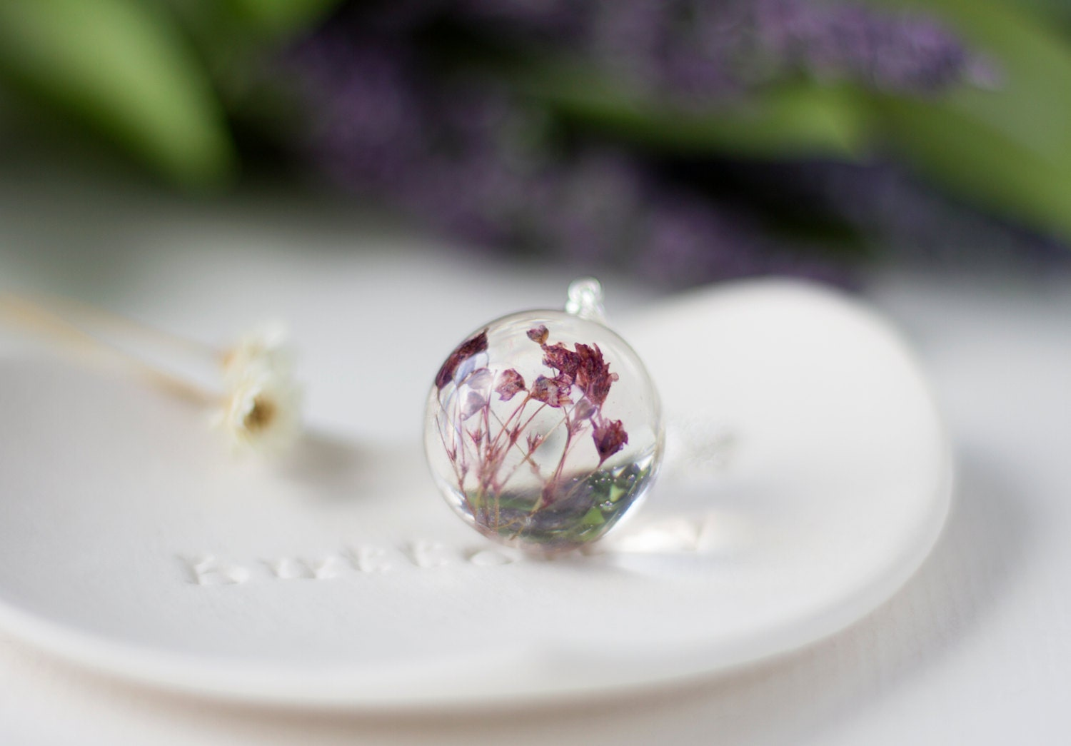 baby breath necklace purple orb pressed by buttonsyjewellery