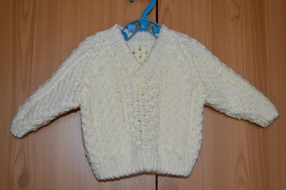 Baby Cable Sweater Ivory Chunky Stylecraft 3-6 months