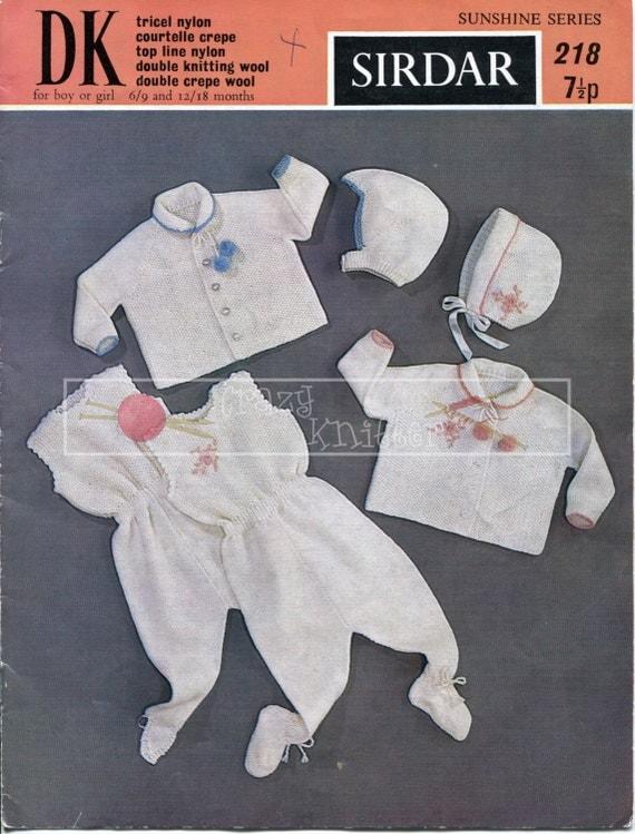 Baby Pram Set 6-18 months DK Sirdar 218 Vintage Knitting Pattern PDF instant download