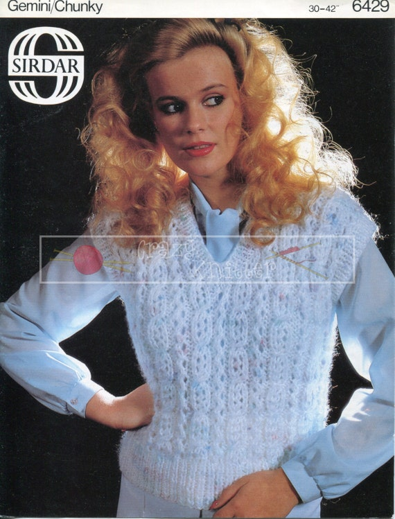 "Lady's Waistcoat 30-42"" Chunky Sirdar 6429 Vintage Knitting Pattern PDF instant download"