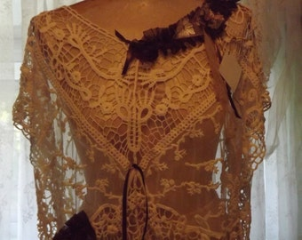 Bricante' Laci's Steppin'Out Vintage Lace Shabby Couture Wearable Art FREE Shipping!